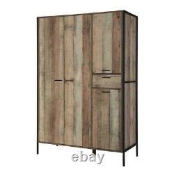 4 Door Large Wardrobe with Drawer Rustic Stretton Urban Industrial Bedroom