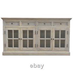 AF Range Large Solid Wood Stone Acid Wash Glazed Sideboard 4 Door 4 Drawer