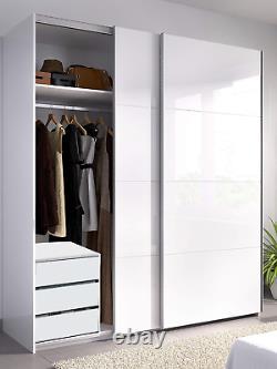 ARC 2 Door Sliding Wardrobe Closet 150cm x 200cm Large White + 3 Drawer Chest