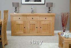 Alaska 3 door 3 drawer large sideboard solid oak living dining room furniture
