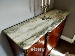 Antique French Louis XV Style 4 Door/3 Drawer Large Sideboard With Marble Top