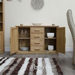 Arden solid oak two door four drawer large sideboard dining room furniture