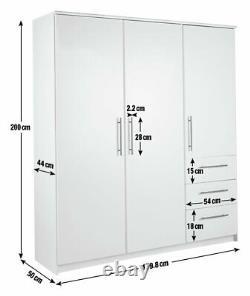 Argos Home Normandy 3 Door 3 Drawer Extra Large Wardrobe White