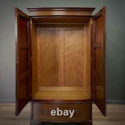 Attractive Large Antique Mahogany Bow Front Double Door Wardrobe, Drawer Base