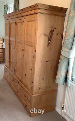 Beautiful Large Antique Pine Wardrobe, 4 Doors, 2 Drawers, Excellent Condition