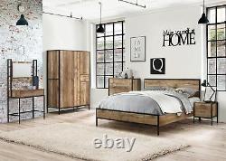 Birlea Urban Industrial Chic 4 Door Large Wardrobe with Drawer Wood Metal