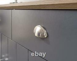 Blue Slate Large Sideboard 3 Door 2 Drawer Storage Metal Cup Handles Oak Top
