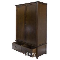Boston Dark Wood Bedroom Range Large 2 Door 2 Drawer Wide Wardrobe