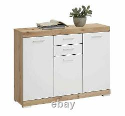 Bristol' Large Rustic Oak & White 3 Door Sideboard Cabinet with Drawers