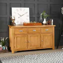 Cheshire Oak Large 3 Drawer 3 Door Sideboard Long Wide Triple Cupboards AD37