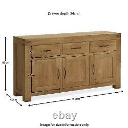Chunky Large Oak Sideboard Rustic Dark Solid Wood 3 Door 3 Drawer Abbey Grande