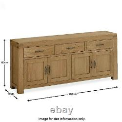 Chunky Oak Sideboard Extra Large Rustic Solid Wood 4 Door 3 Drawers Abbey Grand