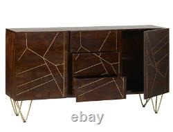 Contemporary 2 Doors and 3 Drawers Dallas Dark Mango Extra Large Sideboard