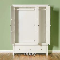 Cornish White Triple Wardrobe with 3 Doors 2 Drawers Large Painted Solid Wood