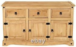 Corona 3 Door 3 Drawer Large (132cm) Sideboard Mexican Pine