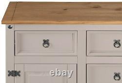 Corona Grey 2 Door 5 Drawer Large Sideboard Mexican Solid Pine