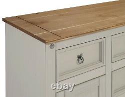 Corona Sideboard Grey Wax 2 Door 5 Drawer Solid Pine Dining Mercers Furniture