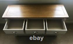 Cotswold Company Large 3 Door & Drawer Sideboard in Oak & Lundy Stone Paint