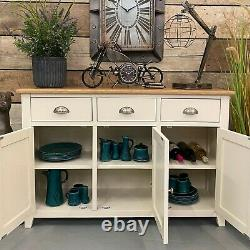 Cream Painted Large Sideboard 3 Drawer 3 Door Storage Cupboard Buffet / Lynton