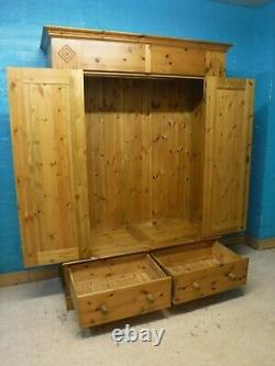 DOVETAILED LARGE SOLID WOOD 2DOOR 2DRAWER WARDROBE H201 W145 D56cm- see our shop