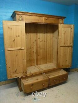 DOVETAILED WIDE LARGE SOLID WOOD 2DOOR 2DRAWER WARDROBE H199 W146cm- SEE SHOP