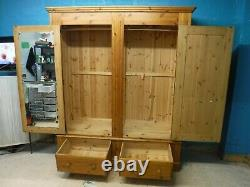DOVETAILED WIDE LARGE SOLID WOOD 2DOOR 2DRAWER WARDROBE H204 W174cm- SEE SHOP
