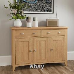 Danish Light Oak Large 3 Door Sideboard / Solid Wood 2 Drawer Cupboard Cabinet