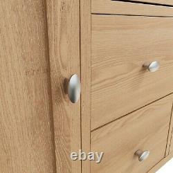 Danish Oak Large Sideboard Cabinet / Light Oak 2 Door 3 Drawer Storage Cupboard