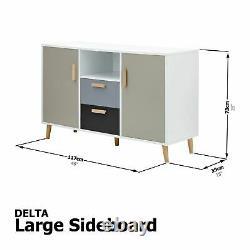 Delta Large Sideboard Storage Unit 2 Drawers 2 Door Cupboards Cabinet White/grey