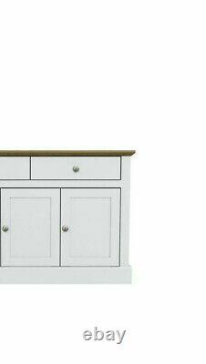 Devon White Large Sideboard / Storage Unit With 3 Doors & 2 Drawers