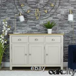 Dorset Grey Oak Sideboard Large 3 Door 3 Drawer Cabinet Truffle Grey