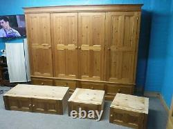 Dovetailed Solid Wood Very Large Quad 4door 4drawer Wardrobe +topboxes- See Shop