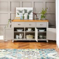 Downton Grey Painted Large 3 Drawer 3 Door Sideboard Kitchen Dining DT37