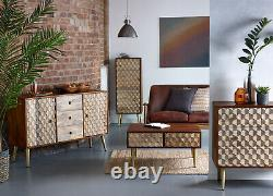 Edisa Honeycomb Effect Solid Mango Living Room Furniture with Gold Metal Legs