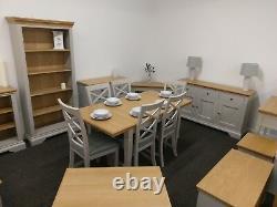 Eton Soft Grey & Oak Large Sideboard / 3 Door 3 Drawer Cupboard / Cabinet