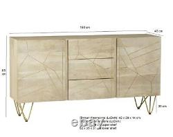Extra Large Sideboard with 2 Doors and 3 Drawers Dallas Light Mango Wood