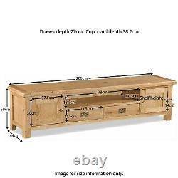 Extra Large TV Stand Unit Cabinet Rustic Oak 2 Door Drawer Zelah Solid Wood