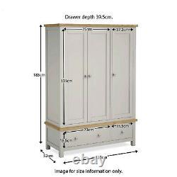 Farrow Grey Triple Wardrobe with 3 Doors 2 Drawers Large Painted Solid Wood Oak