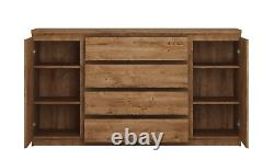 Fribo 2 Door 4 Drawer Large Wide Sideboard Buffet Unit In Golden Oak