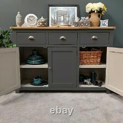 Grey Oak Large Sideboard Dark Painted 3 Door 3 Drawer Cupboard New / Porton