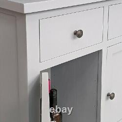 Grey Painted Large Sideboard 3 Drawer 3 Door Oak Storage Cupboard Solid Wood