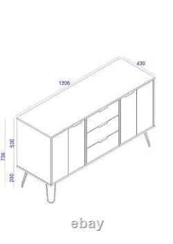 Grey Retro Large 2 Door 3 Drawer Sideboard Cupboard Cabinet Metal Hairpin Legs