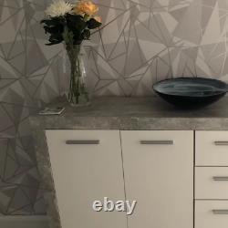 Grey Storage Sideboard Modern White Cabinet Concrete Look Unit Large Door Drawer