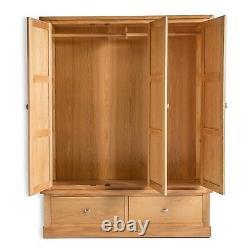 Hampshire Oak Triple Wardrobe w 2 Drawers Large 3 Door Solid Wood Tall Storage