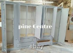 Handmade Ayelsbury Furniture 4 Drawer 6 Doors (grey) (mirrored) Large Wardrobe