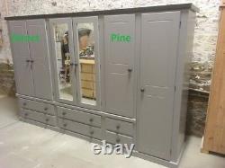 Handmade Shaftesbury Ex Large 6 Door 6 Drawer Robe Grey/dark Grey Trims