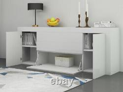 High Gloss Front Large Sideboard Cabinet 2 Doors 2 Drawers & 1 Flaps Cupboard