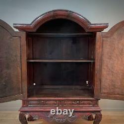 Impressive Large Rustic Oriental Carved Hardwood Two Door Cabinet, Drawer Base