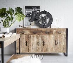 Industrial 4 Drawers and 4 Doors Extra Large Sideboard Living Room Furniture