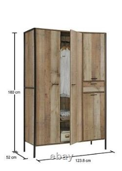 Industrial Large 4 Door Wardrobe with Drawer Clothes Storage Cupboard Cabinet